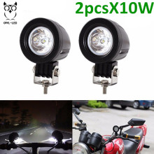 2PCS 10W LED Work Light Modular Flood Hight Power Lamp 12V 24V Driving Lamp for bicycle motorcycle cars wr angler(China)