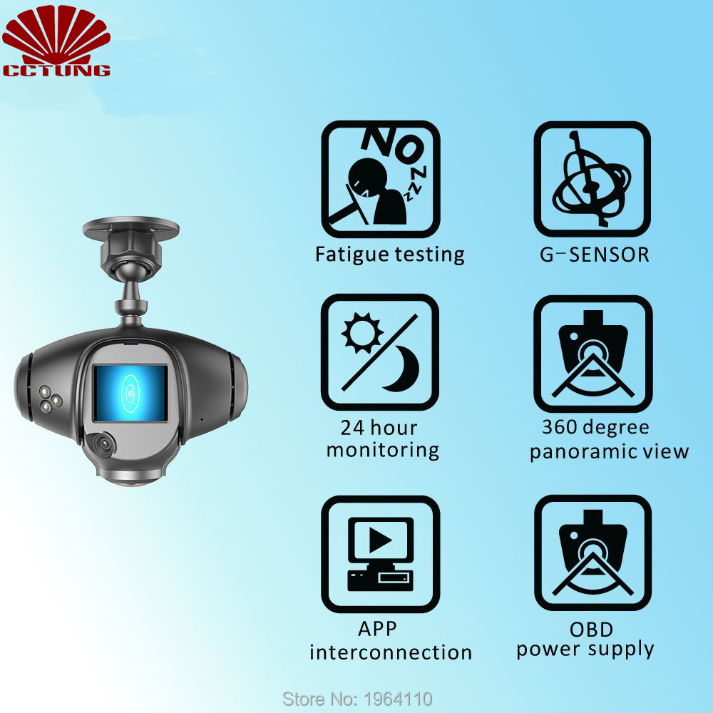Panoramic 360 Degree Car Camera with LCD Screen Real-Time Fatigue Driving Detection OBD Power Supply WIFI Connection Free APP_7