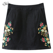 Newest Stylish Flower Embroidery Mini Skirts ZIpper Pocket Girls A-line Vintage Floral Denim Skirt Jeans Skirt for Female Casual