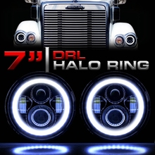 LED Headlights 7 Inch Headlamp Halo Angle Eyes for Freightliner CORONADO