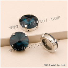 YANRUO #1122S 6 8 10 12 14 16 18 mm Montana Sew On Pointback Round Rivoli Fancy Crystal Rhinestones With Claw Setting(China)