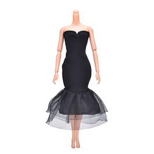Beautiful Doll Dresses Elegant Lady Black Little Dress Evening Dress Clothes for Barbie Dolls Gift Doll Accessories New