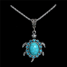 H:HYDE Nice Shipping Women Jewelry Natural Stone Rhinestone Turtle Tortoise Shaped Pendants Retro Necklaces Sweater chain