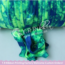"#544 Neon Green color FOE and #350 Royal Blue Tie Dye, 5/8"" Tie Dye FOE Elastic for Hair Accessories 50yards, Welcome Custom"