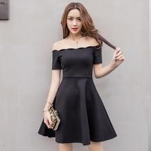 Aiyanga Y Off Shoulder Elegant Women Party Dress Slash Neck Short Sleeve