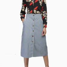 New Stylish Womens Vintage Striped Cotton Denim Skirts Female Pocket Button Design Mid-Calf A-Line Skirts Casual Saias Femininas