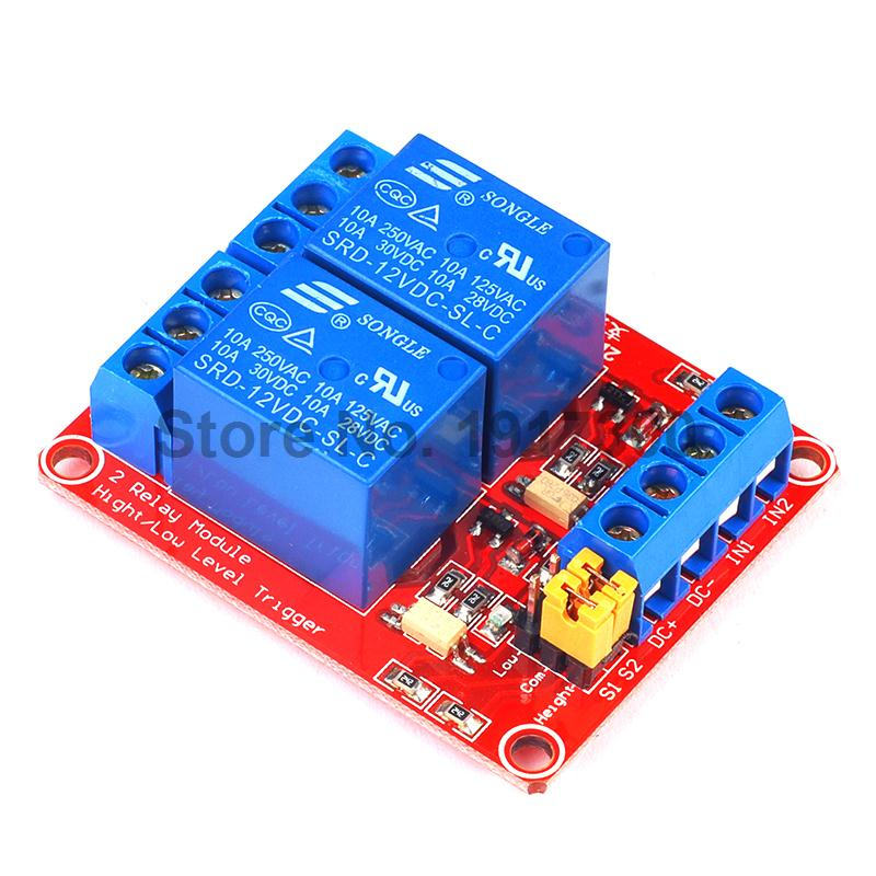 1PCS 12V 2 Channel Relay Module with High and Low Voltage Trigger Solered with Terminal Block<br><br>Aliexpress