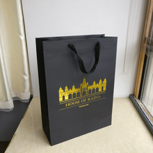 wholesale 1000pcs/lot Custom boutique gift bags High quality black paper shopping Bags with gold logo clothes free shipping TNT