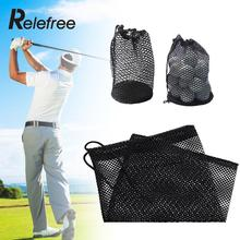 Relefree 3 Szie Sports Mesh Bag Golf Tennis 12/25/50 Balls Carrying Drawstring Pouch with Bottom(China)