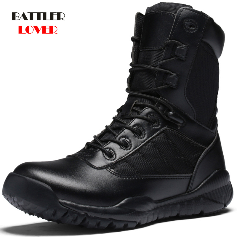 Man Boots with Military Type for Men Combat Shoes Infantry Tactical Boots Waterproof Askeri Boot Army Shoes Black Cow Leather