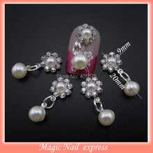 MNS444 Crystal rhinestones pearl 3d nail art decorations DIY charms accesories for nails 10pcs(China)