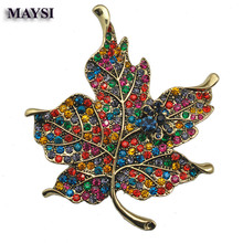 Rhinestone Brooch MultiColor Crystal Maple Leaf Brooch Pins Wedding Plant Costume Jewelry For Women bc11b