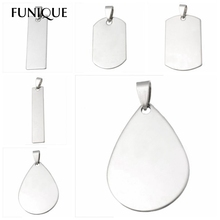 FUNIQUE Stainless Steel Stamping Blanks DIY Dog Tag Pendants Necklaces Unique Lettering Makings Findings Waterdrop Square 10PCs