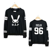 Kpop bap b.a.p bunny and member name printing o neck hoodie fashion pullover sweatshirt  bap fans lovers moletom