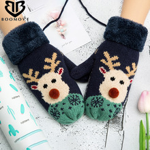 BOOMOVE Winter Gloves Women Warm Wool Knitted Gloves For Women Ladies Cute Winter Ladies Mittens Drop Shipping(China)
