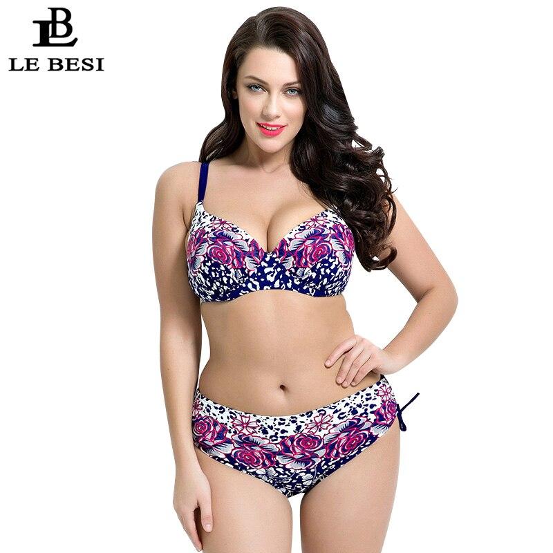 LE BESI 2017 Two Pieces Swimsuit Flower Printed Swimwear Women Underwire Push Up Bikini Lace-up Tankini Trikini Plus Size 7XL<br><br>Aliexpress