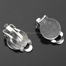 Free Shipping 10mm nickel Plated Round Flat Pad Clip Earrings/Ear Backs DIY Findings 200Pcs/Lot(China)