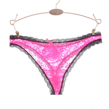Ixuejie Super Sexy Lace Women Panties Low Waist Hollow Pink Panties Underwear Fashion G String Thongs Size M L XL XXL Tanga(China)