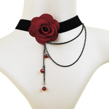 2015 European And American Fashion Red Rose Imitation Pearl Necklace Female Retro Black Lace Wedding Dress Accessories Wholesale