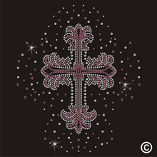 2pc/lot Pink Scatter Cross Crystal Motif Transfer hot fix rhinestone applique designs iron on transfer hot fix iron on for shirt