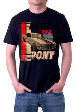2017 New Brand Tops T shirt Homme Ride The Pony Mustang Tee Shirt Black Or White movie Tee Shirts
