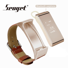 Dual-use Metal smart watch Bluetooth earphone Leather strap smartwatch wireless headphones smart wristband band IOS android wear