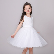 2017 Girls Lace White Children Princess Dress Baby Clothes Bow Frocks Designer Kids Party Prom Dresses Girl Wedding Ball Gowns(China)