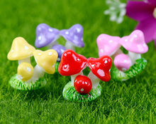 4 pcs/lot mini Small Mushroom Small ornaments three mushrooms fairy decor home decor Miniature Garden 4 colors