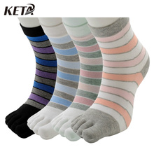 KETA Fashion Brand Women Socks Colorful Stripes Patchwork Cute Socks Cotton Breathable Casual Five Finger Toe Socks (4Pairs/lot)(China)