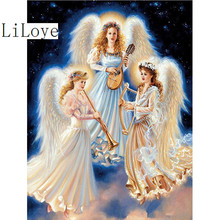 LI LOYE Home Diamond painting Cross stitch DIY Music angel Full Mosaic 5D Square Resin Rhinestone home decoration Gift arts FZ43(China)