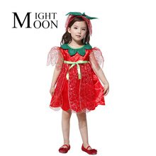 MOONIGHT Children Red Rose Fairy Costume Tinkerbell Dress Party Masquerade Costume Party Costume + Headband