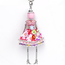 Hot Sale!! Cute Yarn Cloth Bowknot Dress Doll Necklace Women Jewelry stores Christmas Gifts Jewelry Accessories Top-rated(China)