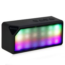 Portable Mini Colorful Flash LED Light Wireless Bluetooth Speaker X3S with Built-in Microphone Support FM Radio for Smartphone