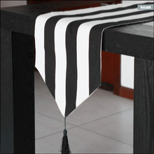 Black and white stripe table runner/modern thickening 100% cotton canvas wedding table runner/hotel bed runner free shipping