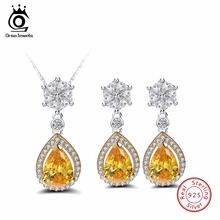 ORSA JEWELS 100% 925 Sterling Silver Jewelry Set For Women 1Pcs Necklace And 1 Pair Earrings Sets AAA CZ Bijoux Femme SS01(China)