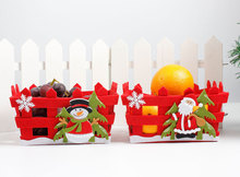 New Christmas Decoration Red Candy Fruit Basket Santa Claus Snowman Home Party Table Decorations Christmas Eve Apple Gift Basket(China)