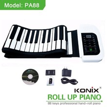 KONIX 88 Key White MIDI Flexible Electronic Roll Up Piano PA88 With Battery