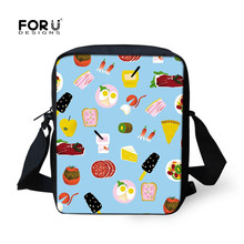 FORUDESIGNS Leisure 3D Food Pattern Messenger Bags Russian Emotion New Design Travel Bag Shoulder Bags For Girls Purses Mochila(China)