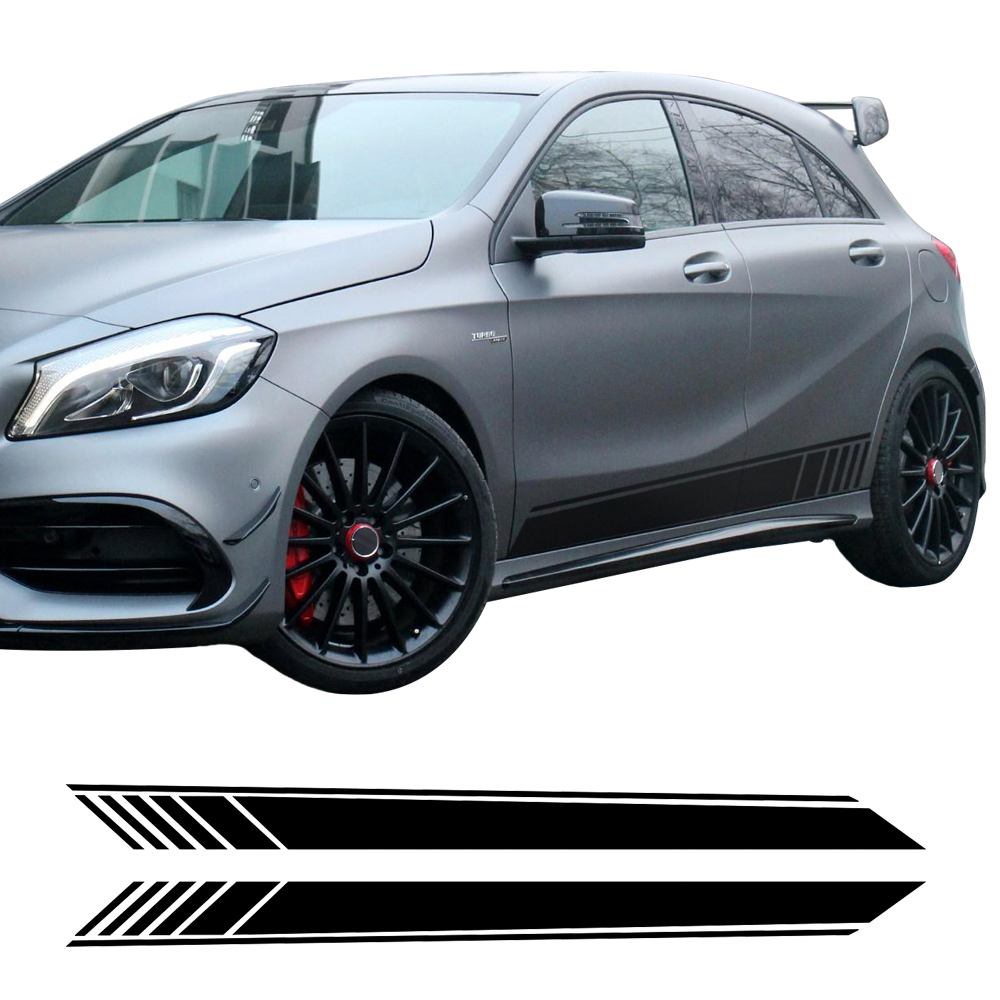 2pcs New GLA45 Edition 1 Side Skirt Racing Stripe Vinyl Decal Stickers for Mercedes Benz W176 A Class A180 A200 A250 A45 AMG<br>