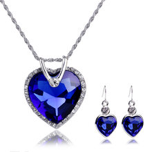 Women Wedding Accessories Silver Plated Red Royal Blue Crystal Love Heart  Pendant Necklace Earrings Set Bridal Jewelry Sets d6d4db6cdc9b