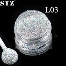 STZ New 2017 Salon Manicure Nail Art Lase Silver Acrylic UV Gel Sequin Gem Body Decorations Glitter Dust Powder Designs 1g L03
