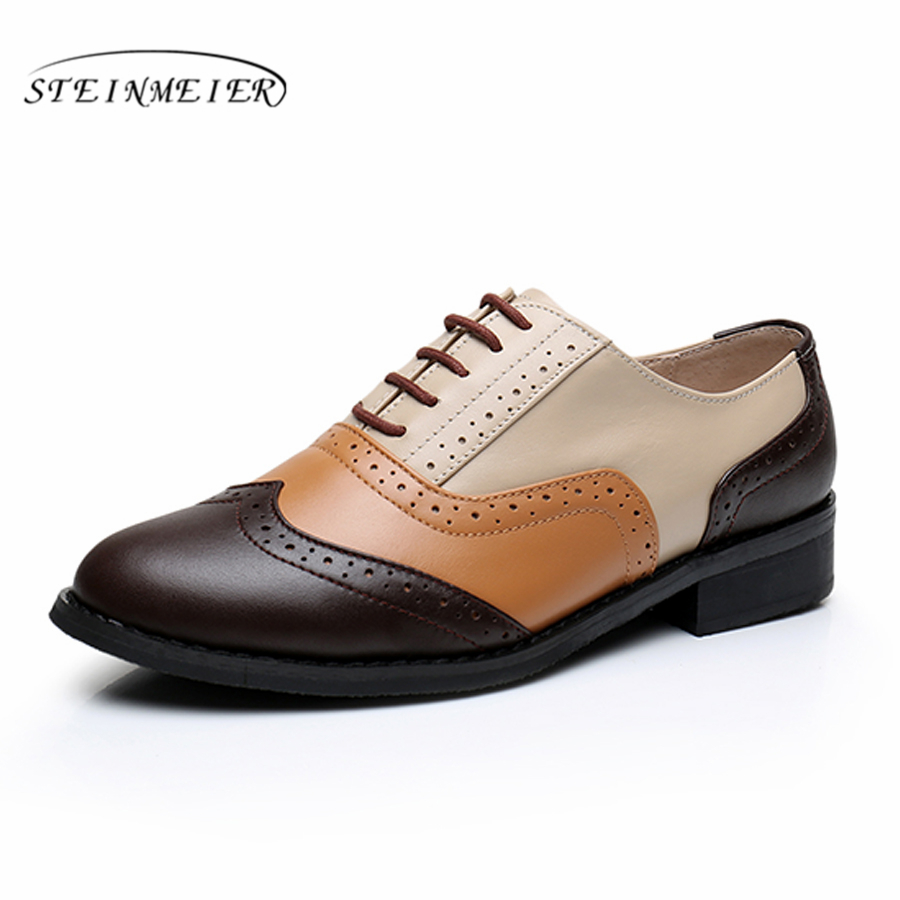 women full grain leather shoes woman us9.5 retro shoes round toe handmade flats brown beige yellow oxford shoes for women<br>