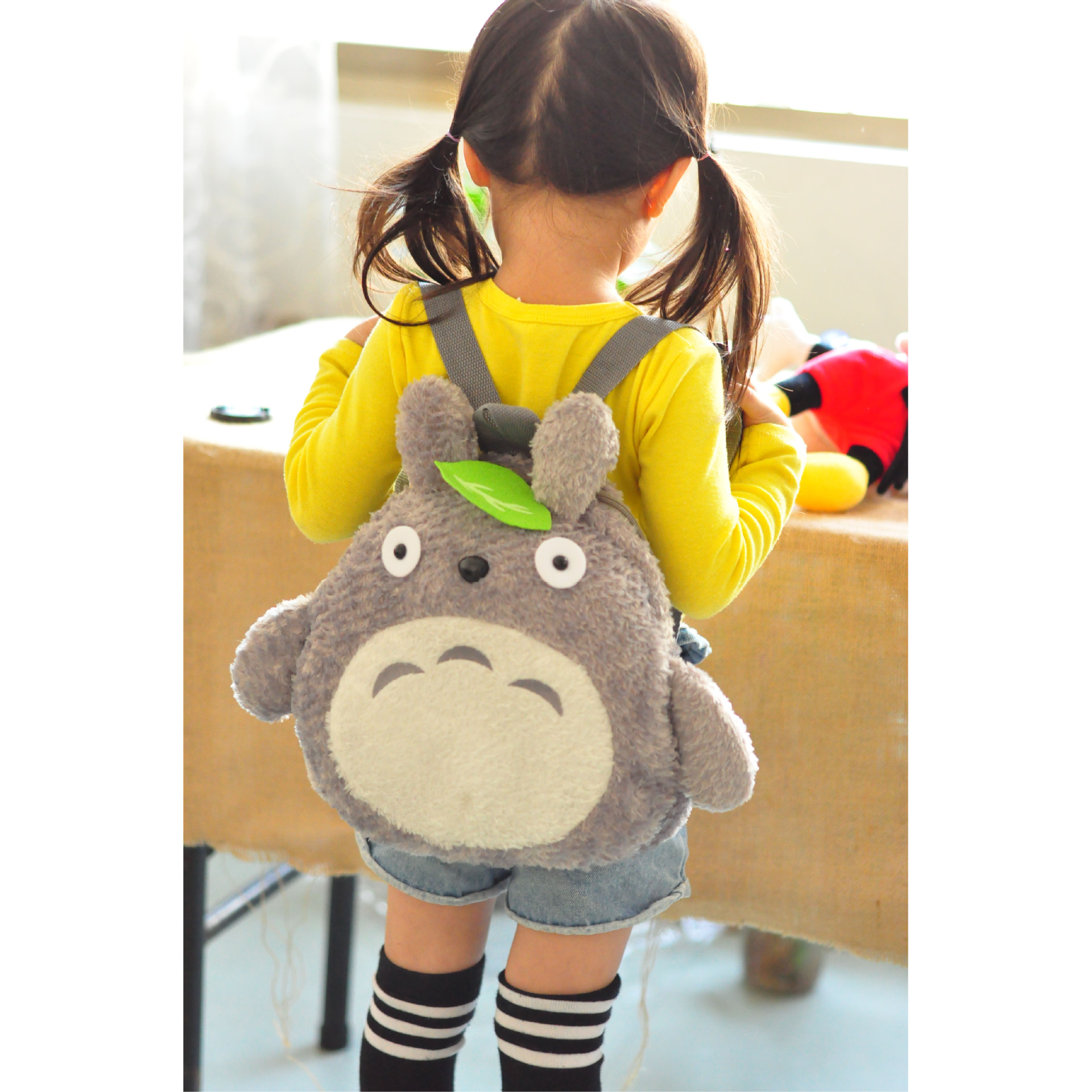 Free Shipping cute green totoro plush backpack cartoon kindergarden bag for children(China (Mainland))