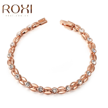 2017 ROXI Charms Beads Cute Crystal Bracelet Rose Gold Wedding Jewelry Punk Pendant Graduation Gift Bracelets & Bangles