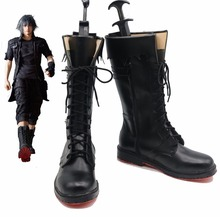 Free Shipping Final Fantasy XV Noctis Lucis Caelum Black Boots Anime Cosplay Shoes(China)