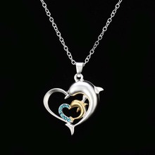 2017 New Style Fashion Exquisite Two Heart Shape Necklace With Two Color Dolphin Rhinestone Pendant For Lovers gifts