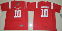 Nike Youth 2016 Ole Miss Rebels Eli Manning 10 College Alumni Ice Hockey Jerseys - Red Size S,M,L,XL(China)