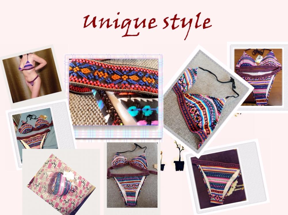 17 Spicy Women Triangle Biquini Ethnic Pattern Bandage Sexy Swimwear Low Waist Thongs Brazilian Bikini Set Hot Bathing Suit 16