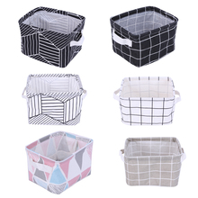 Cotton Linen Office Storage Box Desk Organizer Small Geometric Portable Change Earphone Cable Holder