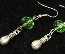New Fashion vintage Antique Silver  Dollar Purse Green Crystal Beads Drop Earrings Women Girls Jewelry Gift 10Pair/lot